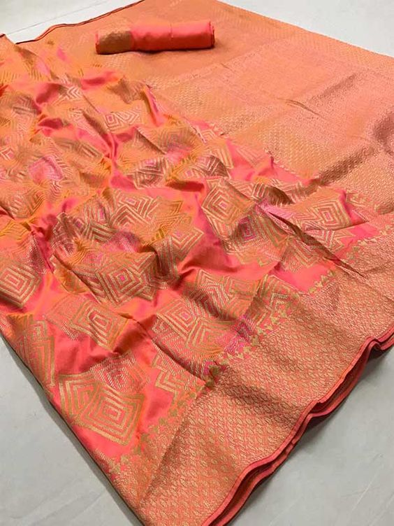 New  Best Collection Of Designer Orange Color  Soft Silk Saree SS8057