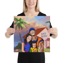 Load image into Gallery viewer, Custom Saiyan square canvas with the dimensions of 16 by 16 inches. Become a Dragon Ball Saiyan on your own, animate yourself and bring your portrait to life! Dragon ball custom portrait. Custom dragon ball character. Family dragon ball portrait. Family dragon ball art. Family dragon ball picture. Dbz custom art. Dbz custom picture. Anime yourself. Anime. Anime Art. Turn Yourself Anime