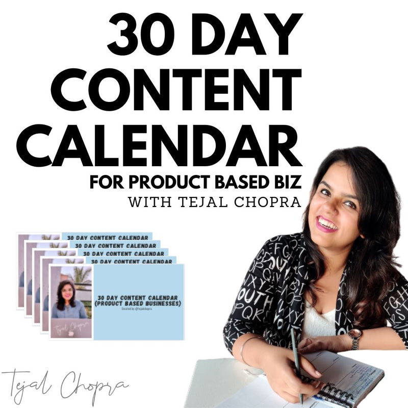 30 Day Content Calendar for Product Based Businesses