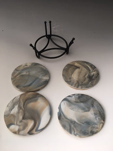 Coasters - set of 4 with holder