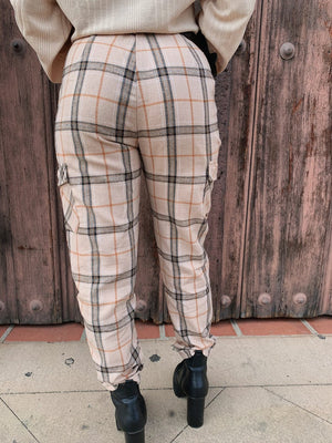 Beige Plaid Pants