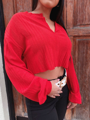 Clara Rib-Knit Top (Red)