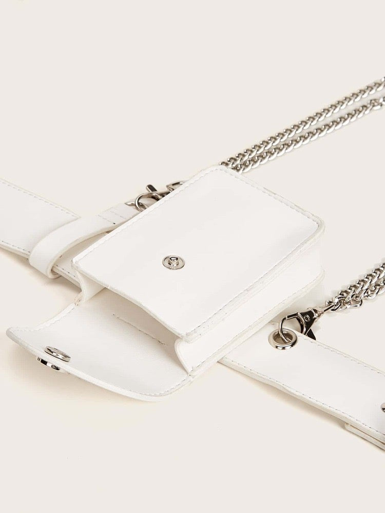 White chain fanny pack belt