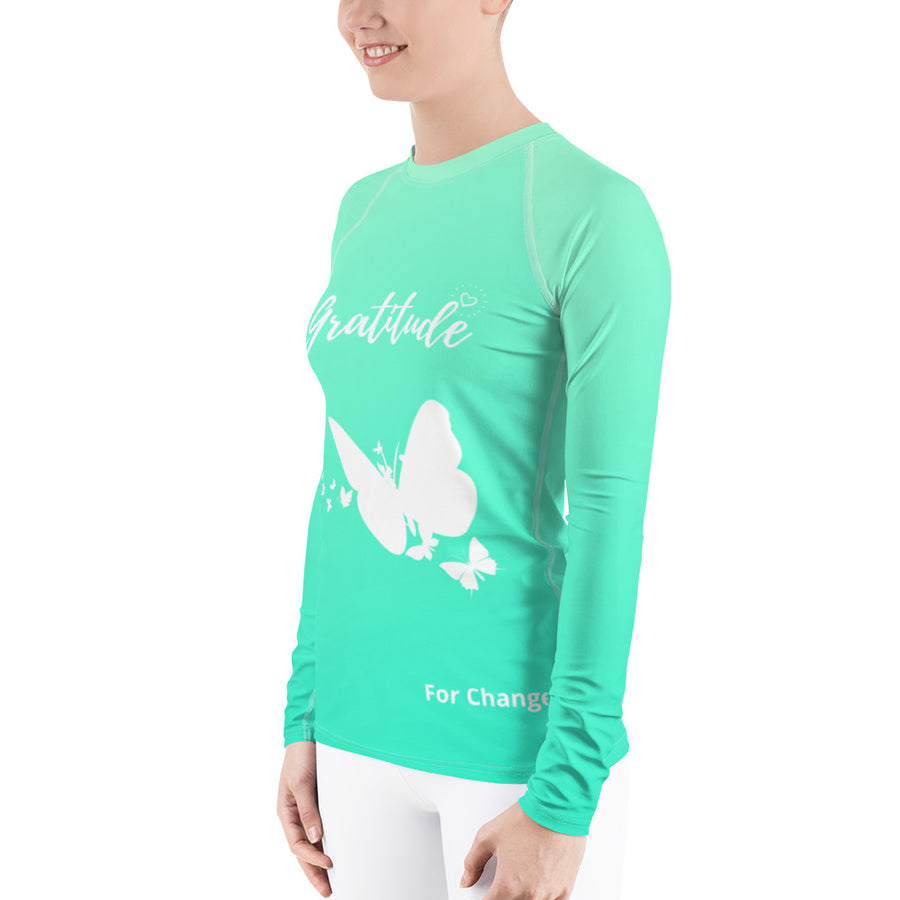 Ladies Rash Guard Long Sleeve - Gratitude For Change