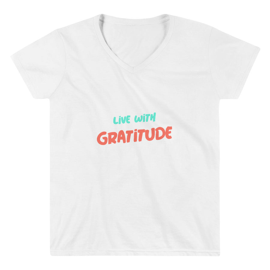 Ladies Casual V-Neck Shirt - Live With Gratitude