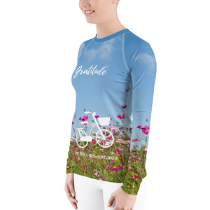 Ladies Rash Guard Long Sleeve Shirt - Cycling Through Fresh Flowers Gratitude
