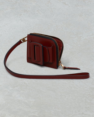 BUCKLE CARD HOLDER WITH STRAP COGNAC