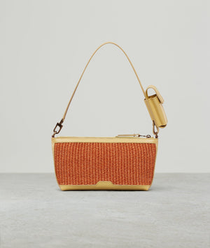 BUCKLE POUCHETTE RAFFIA COLOR BLOCK BRANDY/POLENTA