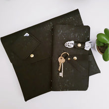Load image into Gallery viewer, Black cork leather clutch bag and journal