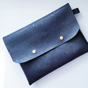 Black cork leather clutch bag