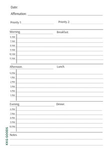 A5 Daily Planner Sheet