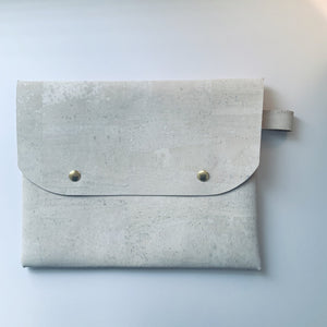White cork leather clutch bag