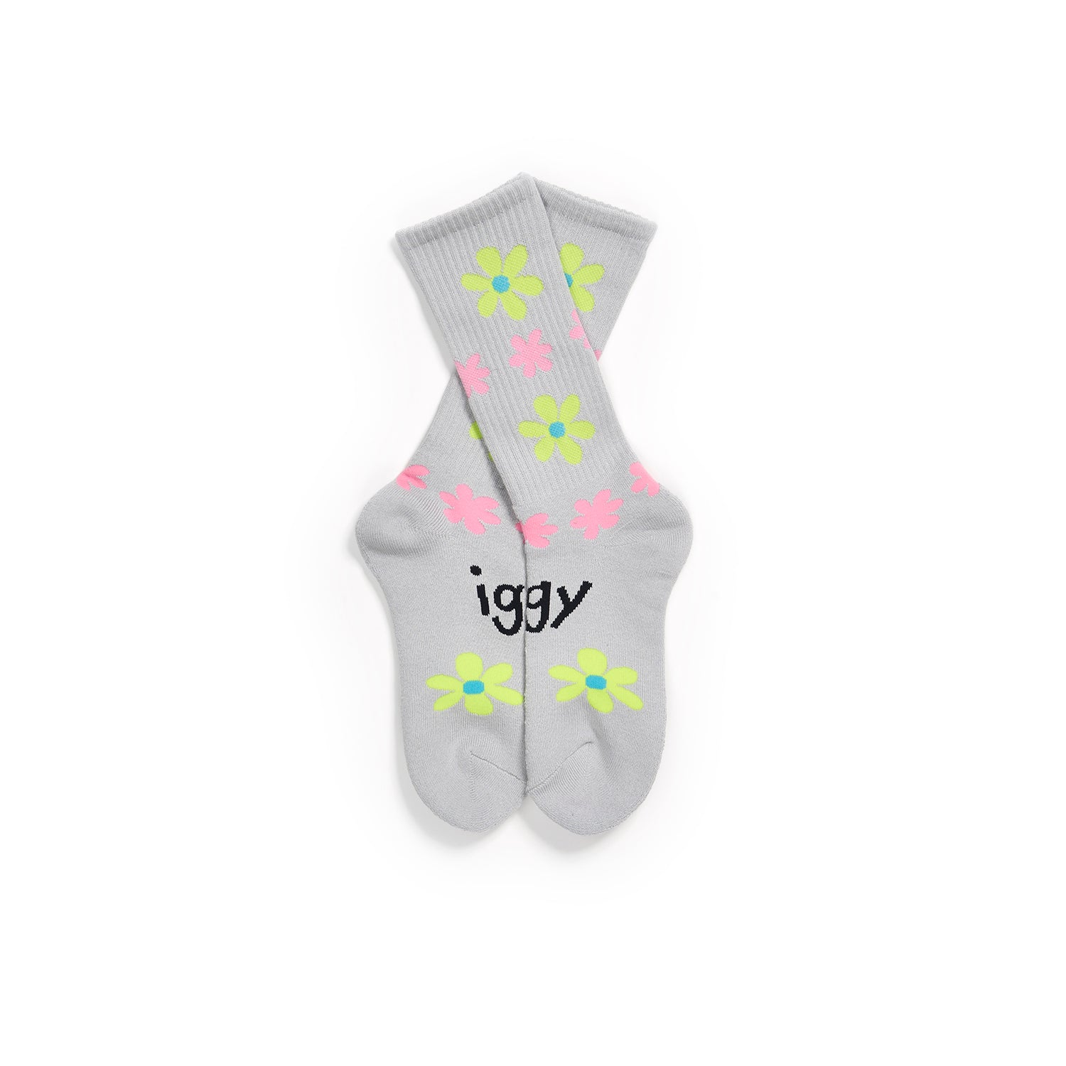 GRAY SOCKS FULL OF FLOWERS