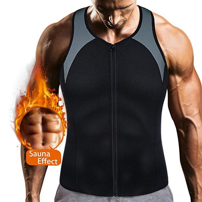 New Neoprene Sauna Vest for Men Weight Body Shaper Fitness ShopLateTonight United States black-6 S