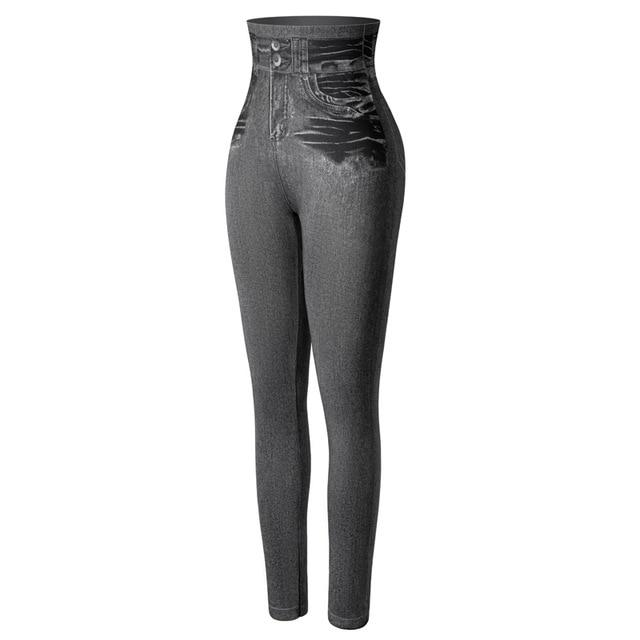 Faux Denim Casual Leggings - ShopLateTonight