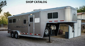 Image of gooseneck enclosed horse trailer