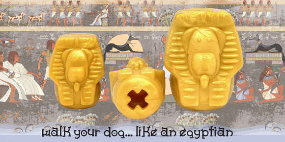 dog chew toy and treat dispenser shaped like an Egyptian Pharaoh or Sphynx