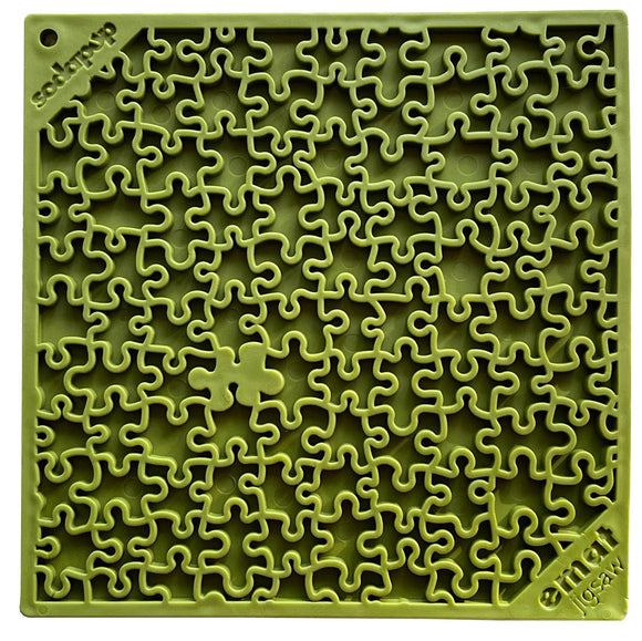 NEW! Jigsaw Design Emat Enrichment Licking Mat - Green