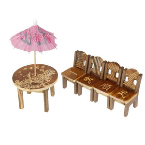 Dollhouse Miniature 1 Table and 2 Chairs Wood Furniture Supply Deco