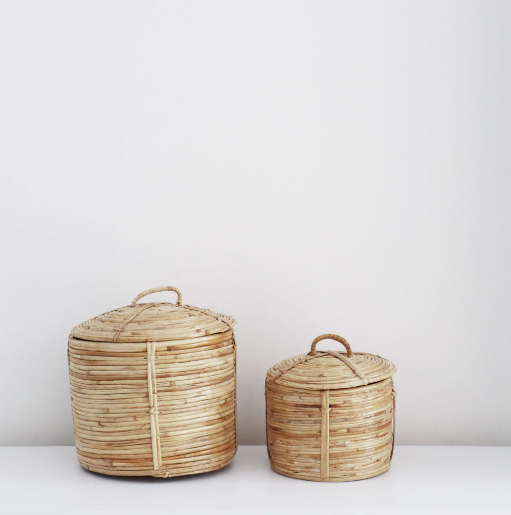 Small Baskets with Lid Set 2 - Abode Bazaar