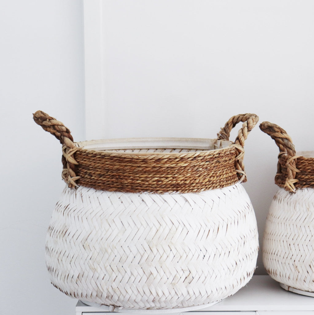 Washed Look Baskets - Set of Two - Abode Bazaar