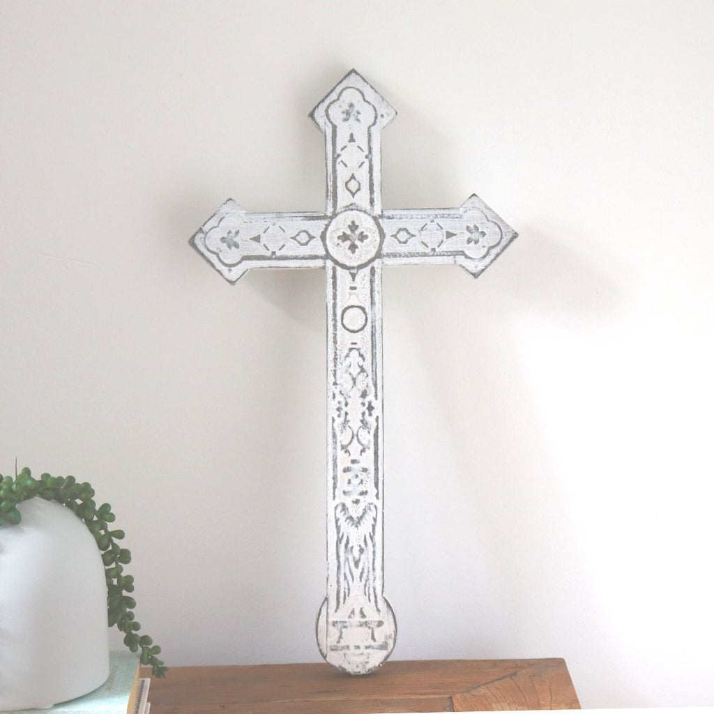 White Timber Cross - Abode Bazaar