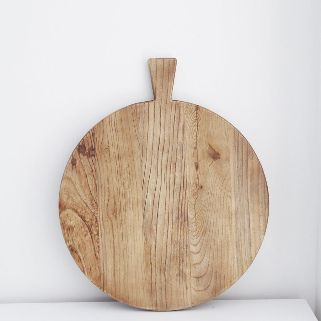 Wooden Cheese Board Round with Handle - Abode Bazaar