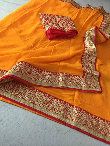 Rajasthan embroidery saree