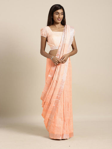 Coral Pink Cotton Linen Saree with Blouse Buy Online