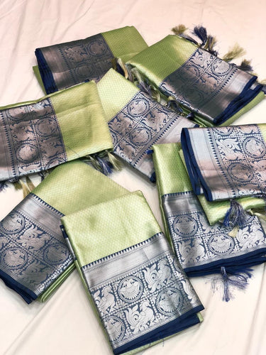 Green and Navy-Blue Kora Tissue Saree