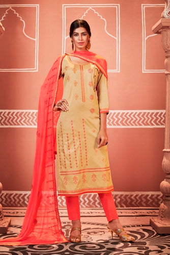 Beige and Pink Unstitched Suit Set Buy Online