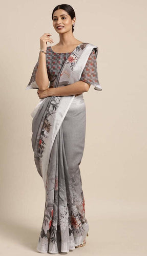 Dark Grey Linen-Cotton Saree