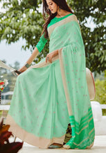 Load image into Gallery viewer, Simple Kutch Work Linen Silk Sarees with Blouse