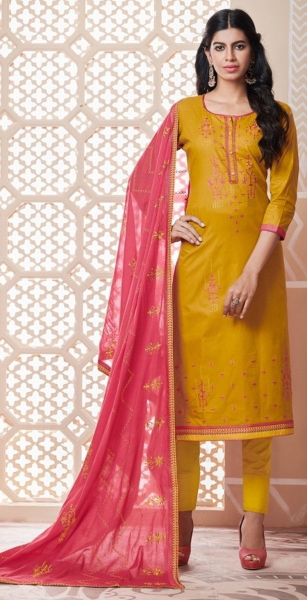 Mustard and Pink Unstitched Suit Set Buy Online