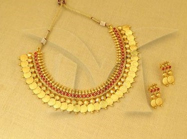 Ruby Kasu Model Necklace Set with Earrings