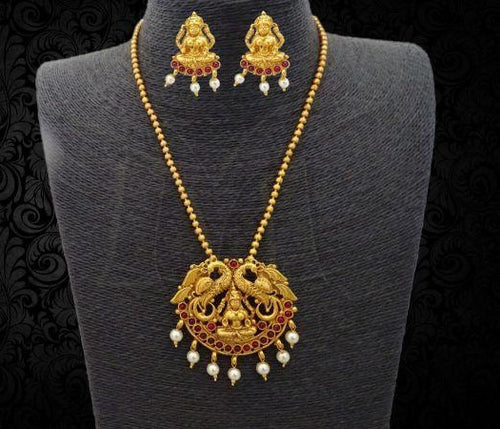 Lakshmi Peacock Pendant Model Lakshmi Necklace Set with Earrings