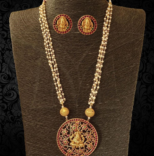 Pearl Chain Pendant Model Lakshmi Necklace Set with Earrings