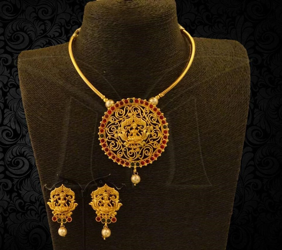 Ruby Green Lakshmi Kanti Model Necklace Set with Earrings