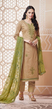 Load image into Gallery viewer, Beige and Green Unstitched Suit Set