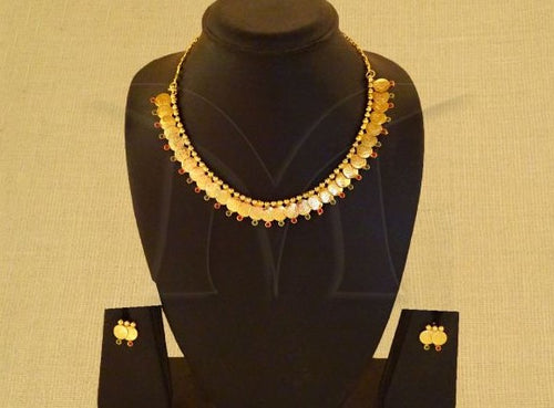 Ruby Green Kasu Model Necklace Set with Earrings