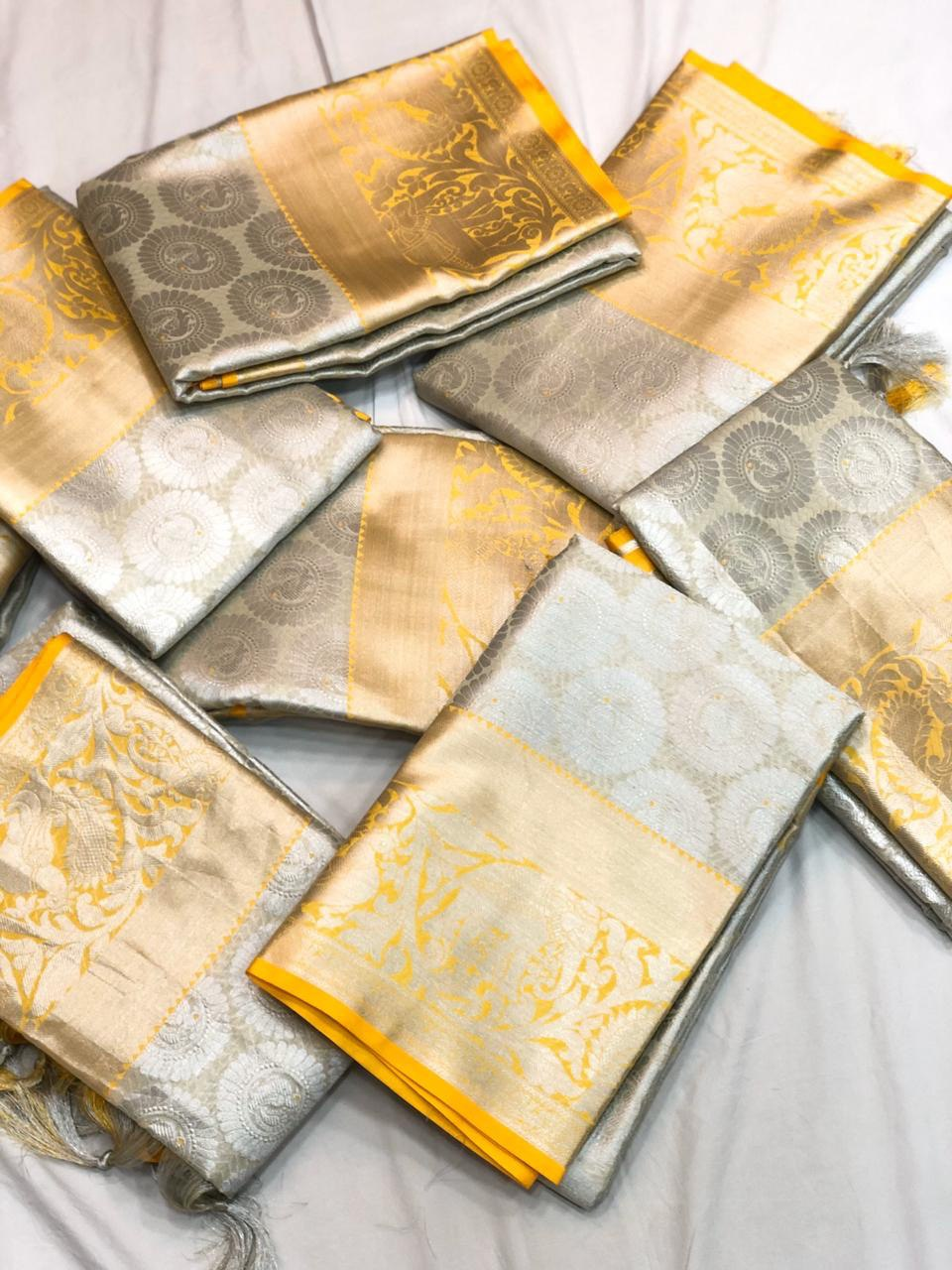 Grey and Yellow Kora Tissue Saree