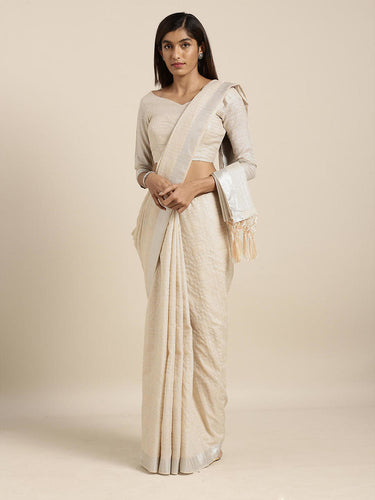 Beige Cotton Linen Saree with Blouse Buy Online