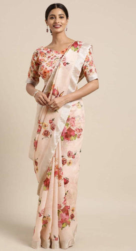 Coral Linen-Cotton Floral Print Saree