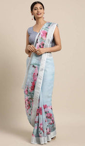 Sea Blue Linen-Cotton Floral Print Saree