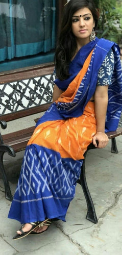 Orange and Blue Ikkat Print Designer Cotton Saree with Blouse