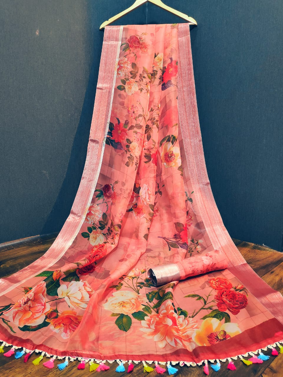 Bright Peach Floral Print Organza Saree