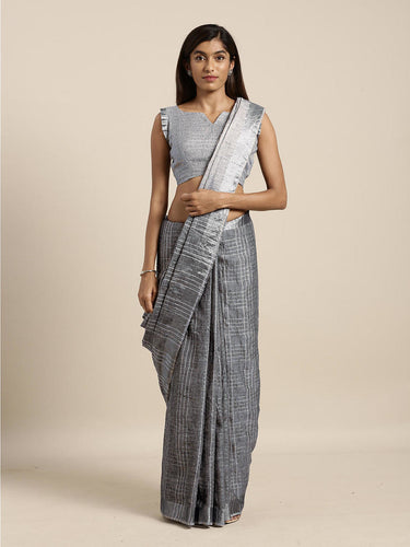 Dark Grey Cotton Linen Saree with Blouse Buy Online