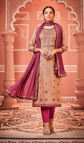 Beige and Purple Unstitched Suit Set Buy Online