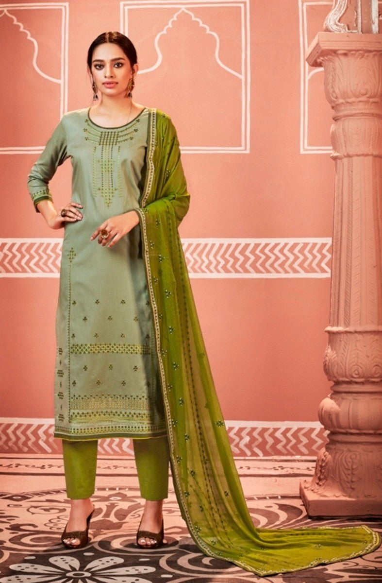 Grey and Green Unstitched Suit Set Buy Online