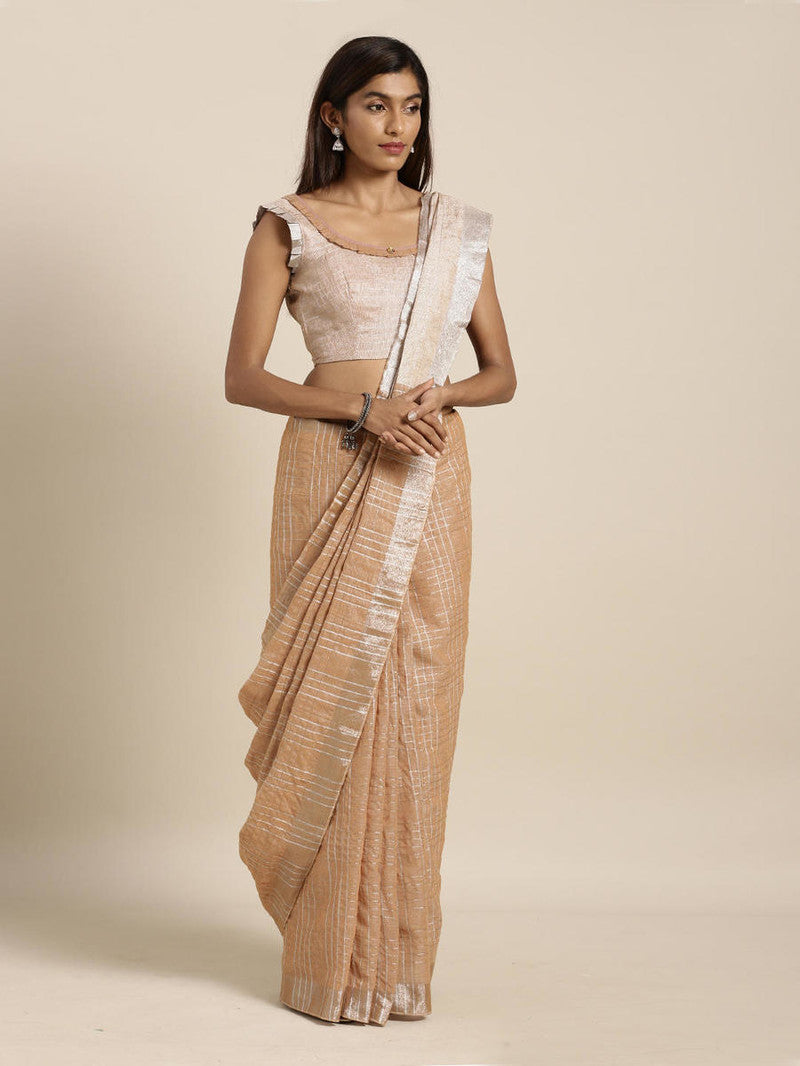 Brown Cotton Linen Saree with Blouse Buy Online